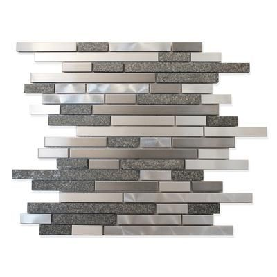 Backsplash Modamo Stainless Steel Metal And Stone Linear Mosaic