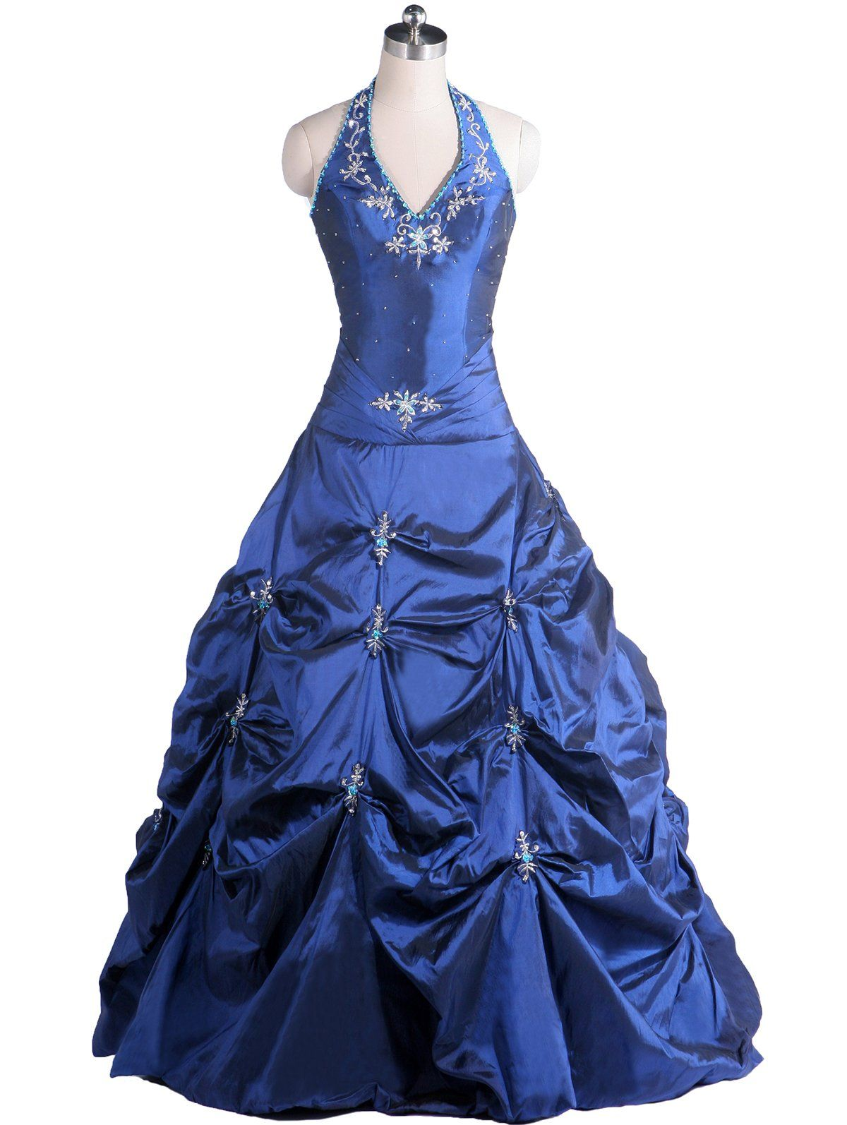 Mrzhu long ruched halter quinceanera dress ball gown prom dress