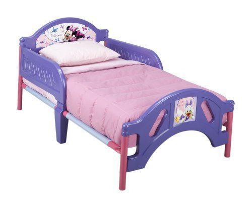 Minnie Toddler Bed Disney Kids Bedroom Furniture Purple Metal Frame Side Rails #Disney
