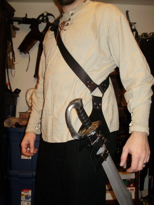 Pirate leather baldric for latex sword (scabbard that can hold saber