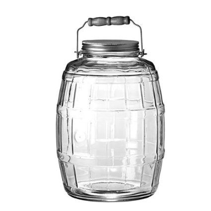 Amazon Com Anchor Hocking 85679 2 1 2 Gallon Glass Barrel Jar With Brushed Aluminum Lid Food Storage Con Glass Jars With Lids Gallon Glass Jars Jar Storage