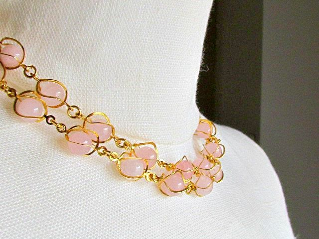 Vintage Gold Necklace Rose Quartz Beads by vintagepaige on Etsy