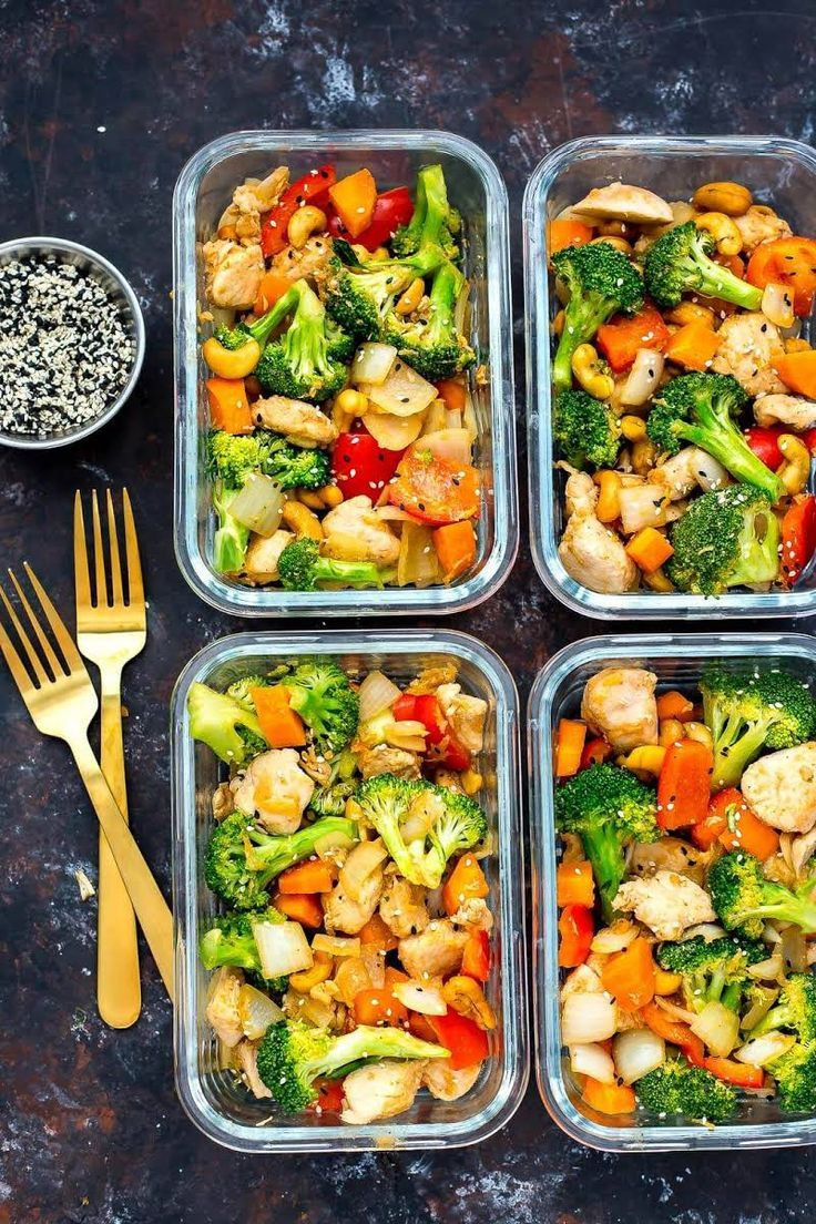 Cashew Chicken Meal Prep Bowls #fitness #fitnessideas #diet