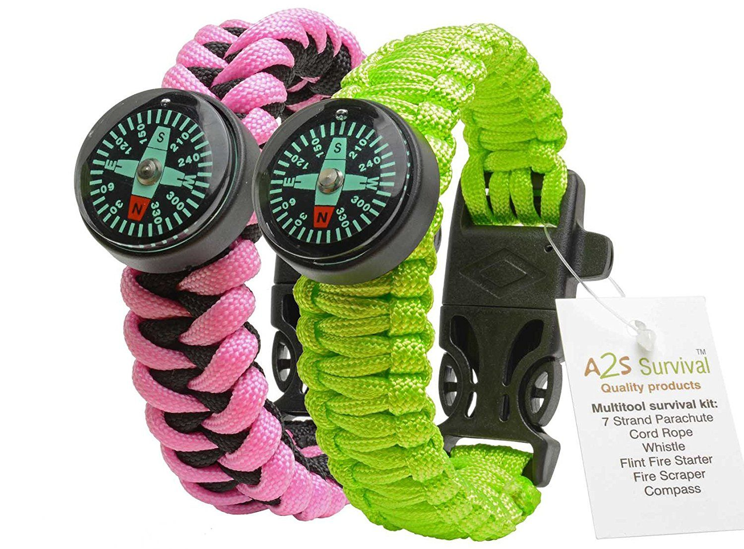 A2s Paracord Bracelet Survival Gear Kit Colorful Everest Series With Built In New Type Compass Fire Starte Fire Starters Emergency Whistles Flint Fire Starter