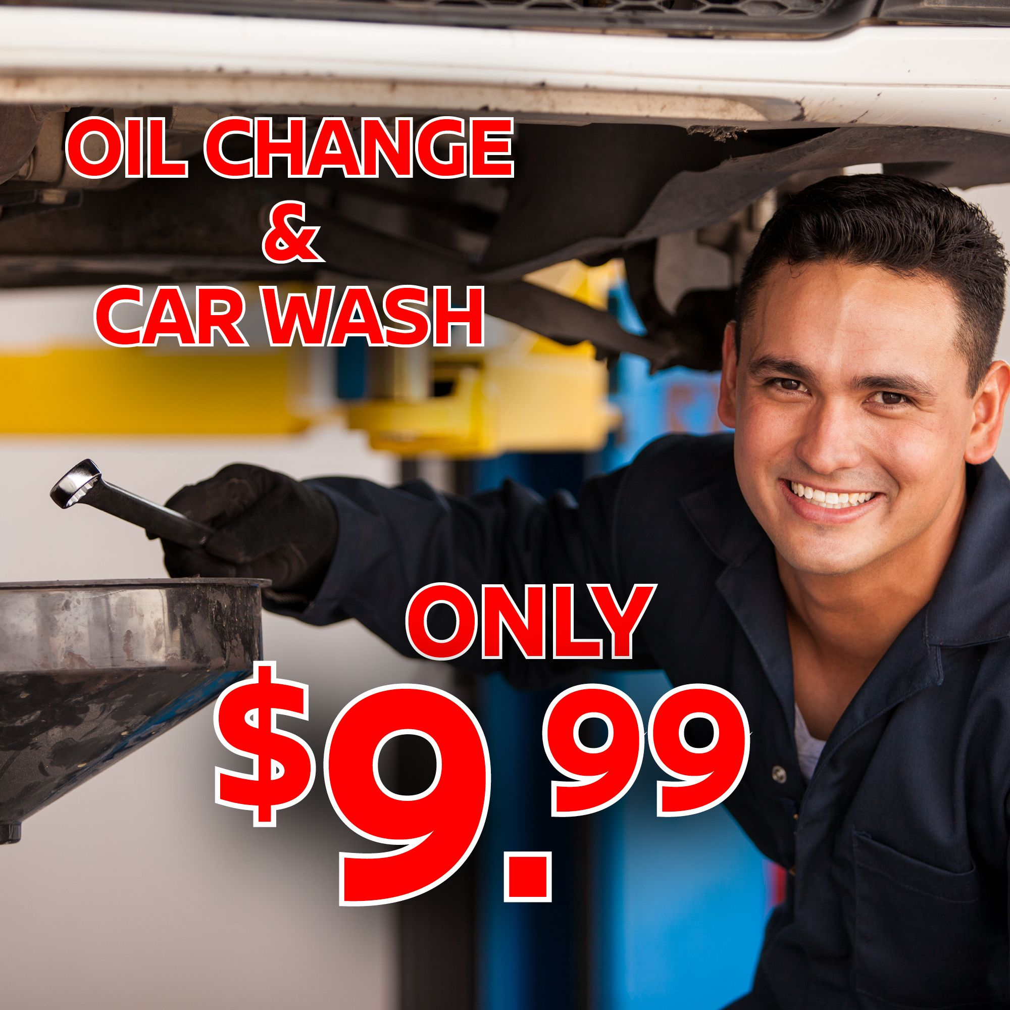 Deal of the week get an oil change and car wash for only