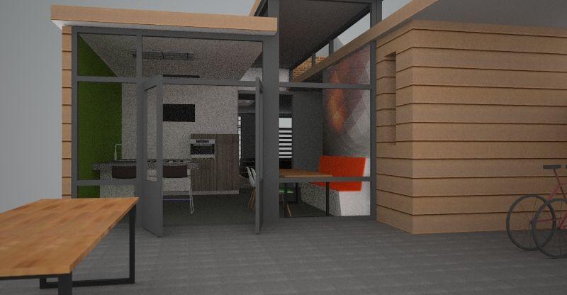 aanzicht keuken vanuit buiten: project 1