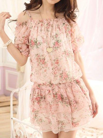 Lovely Floral Printed Elastic Waist Chiffon Dress Mini Dress Girl's Summer Dress