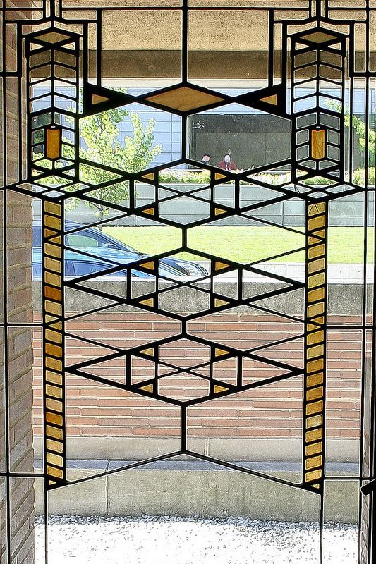 Stained Glass, Robie House, Hyde Park, Chicago, IL, built between 1908-1910.