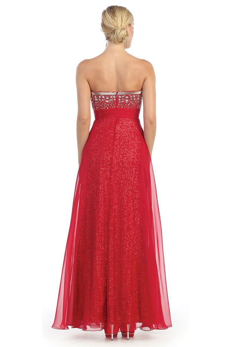 Long strapless sweetheart sequins embellished bodice prom dress