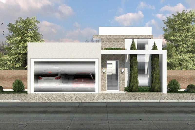 Com uma bela fachada esta casa tem duas vagas na garagem for Casa moderna 7x20