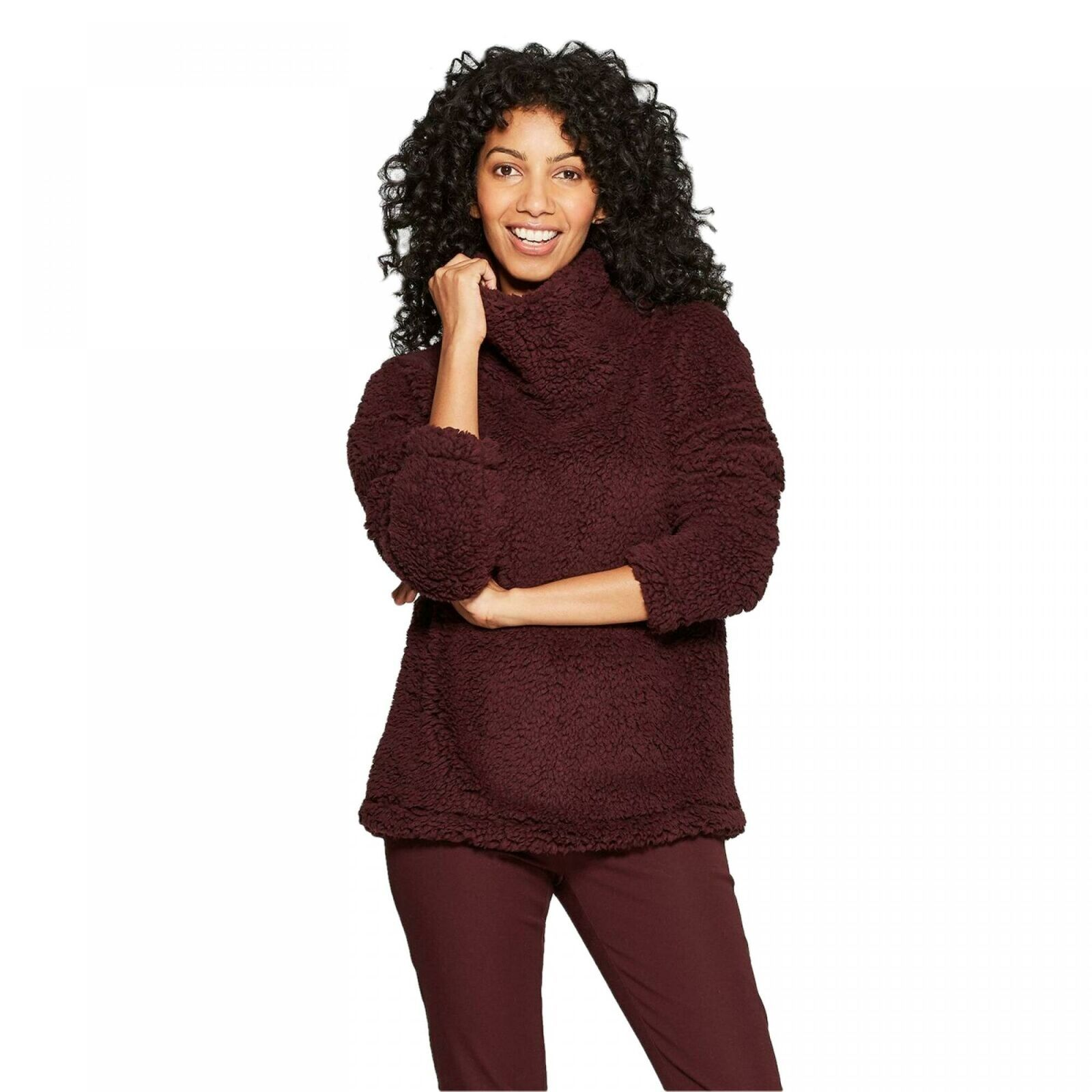 A New Day Women's Any Day Turtleneck Sherpa Pullover Sweatshirt Burgundy L