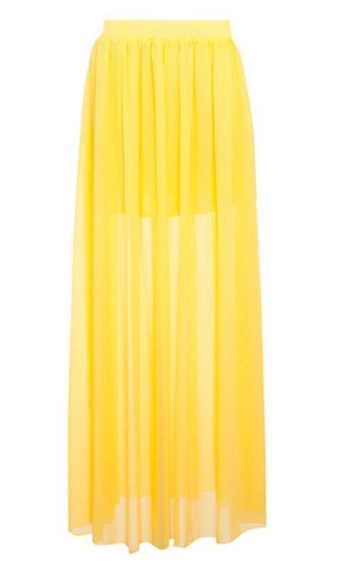 49460ec15 Falda larga amarilla corta por abajo,larga y transparente | corte y ...