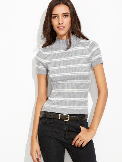 Grey Striped Mock Neck Ribbed Sweater