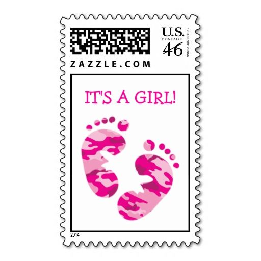 Camouflage Hot Pink Baby Feet IT'S A GIRL! STAMP