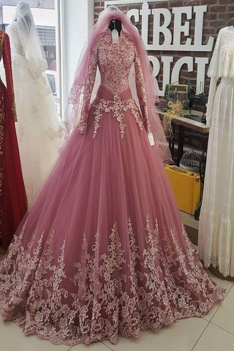 9.9  Saudi Arabia Pink Muslim Wedding Dresses 9 Long