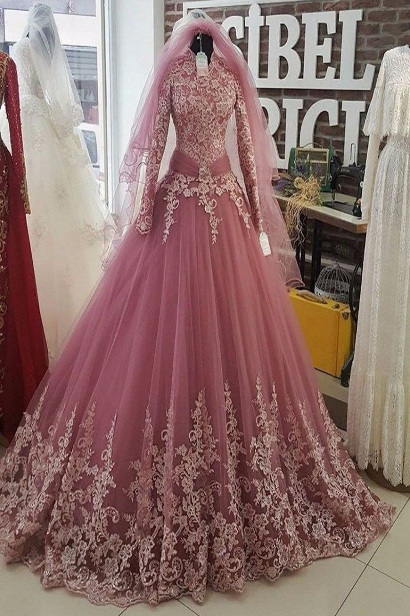 87657e039a 149.00 | Saudi Arabia Pink Muslim Wedding Dresses 2018 Long Sleeves ...