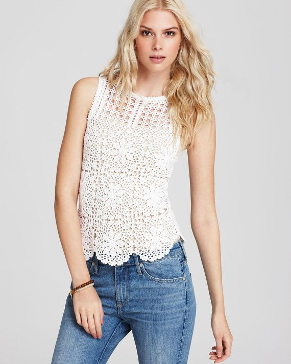 Lace top blouse    crochet handmade  custom made by Irenastyle, $139.00