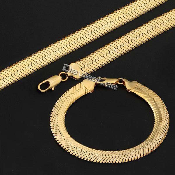 Davieslee 10mm Gold Filled Mirror Snake Herringbone Boys Mens Chain Necklace Bracelet Womens Clic Jewelry Set