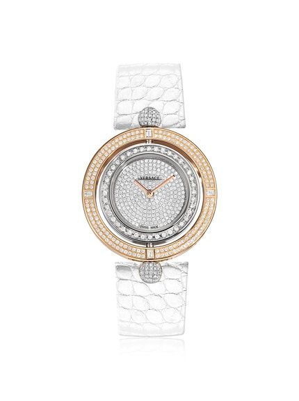 d832f4f4476 Versace Women's 79Q91OFD91F S001 Eon Diamond, Rose Gold & White Leather  Watch at MYHABIT