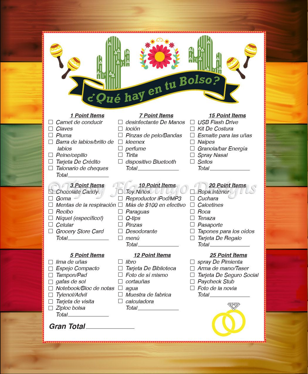 UNIQUE SPANISH - Bridal Shower Game - What's in Your Purse - Spanish Theme  - Que