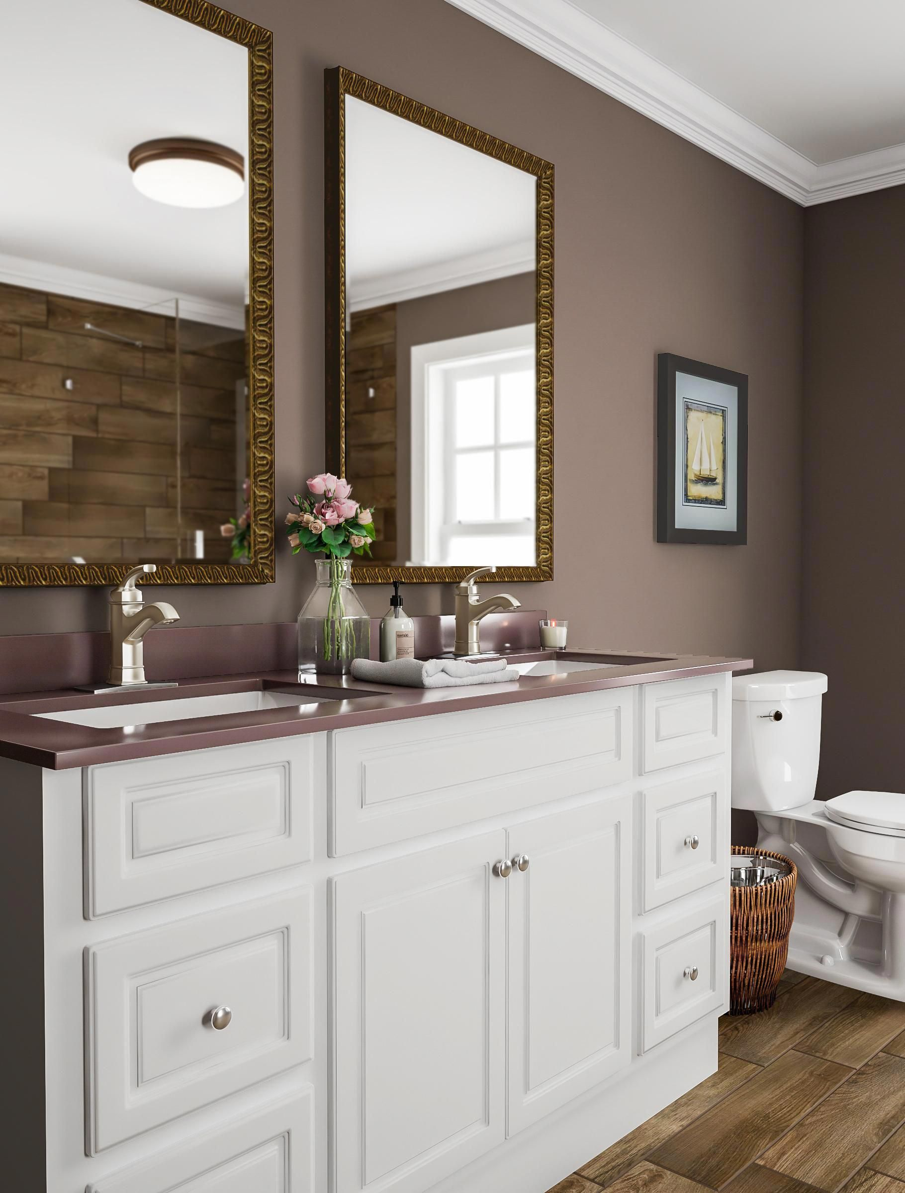 Enrich A Large Bathroom With A Deep Color Like Java Brown You Can Use The Same Color Almost Bathroom Color Schemes Brown Bathroom Paint Bathroom Paint Colors