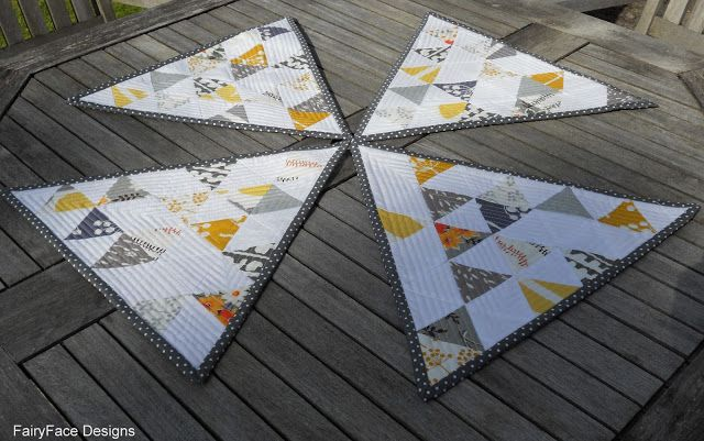 Triangular Echo Quilted Placemats | FairyFace Designs