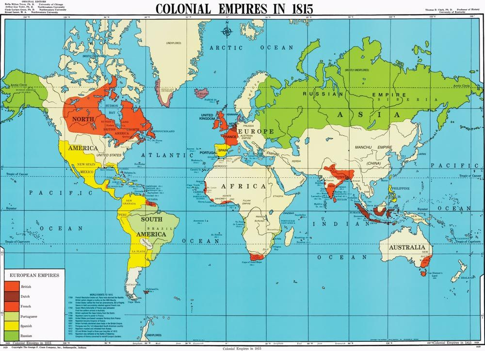 Colonial empires in 1815 hărți Pinterest Colonial and History - new world map political