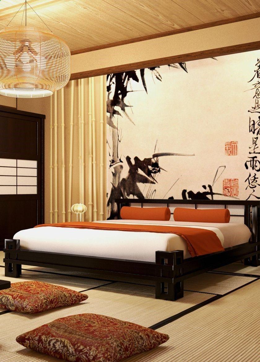Bedroom Japan style Спальня с деревянной темной кроватью и шкафом