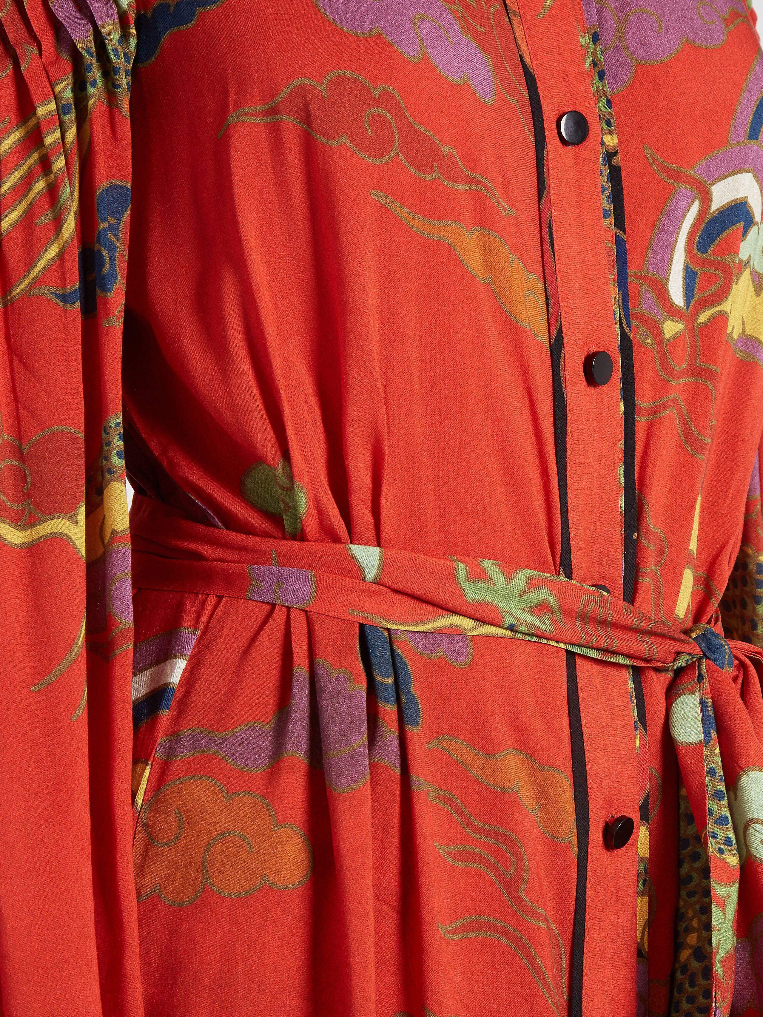 Dragon-print cold-shoulder crepe dress | Adriana Degreas | MATCHESFASHION.COM