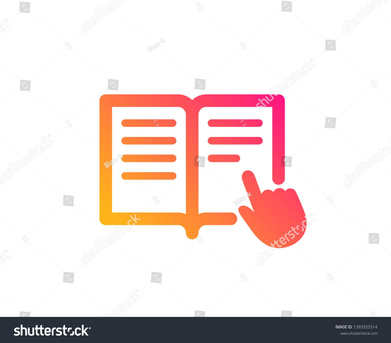 Instruction Book Icon Education With Hand Pointer Symbol E Learning Sign Classic Flat Style Gradient Read Instruction Icon Vecto Book Icons Vector Symbols