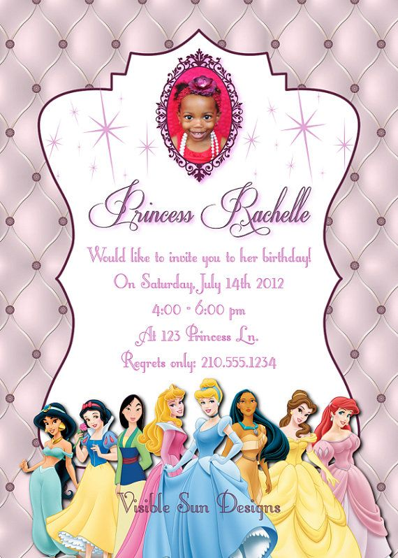 Custom birthday invitations disney princess theme all for custom birthday invitations disney princess theme stopboris Images