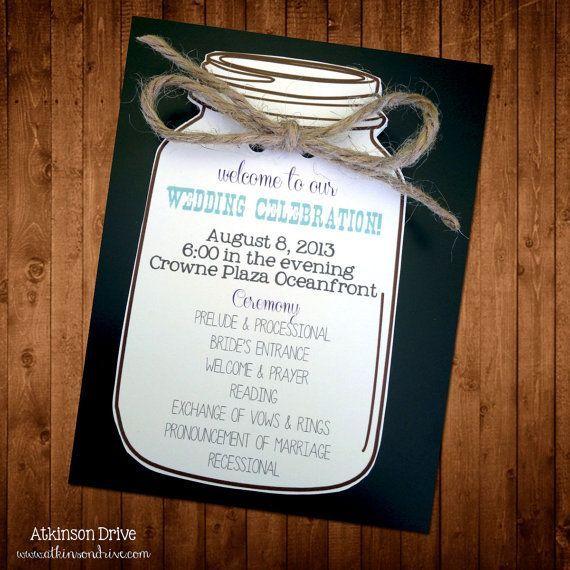 Custom Mason Jar Wedding Program