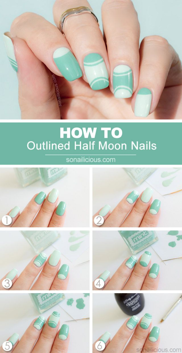 Outlined Half Moon Manicure Tutorial Cute Nail Art Designs