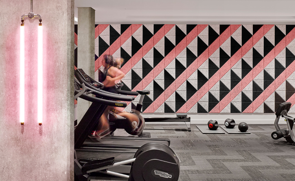 When Innovative Design Bureau Jasper Sanders And Partners Were Commissioned To Design A Stunning Build To Rent Apartment Complex In House Gym Baux Colorful Gym