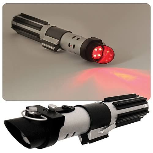 *Measures 9.75 inches long by 1.25 circumference *Features bright red LED's *May the flashlight be with you! *Plastic hilt *Great functional accessory *Officially licensed *Brand new