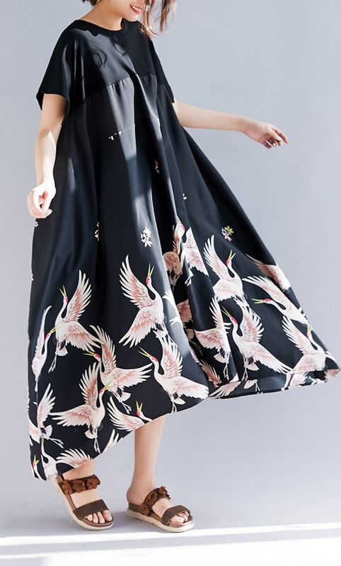 Photo of Loose black print linen clothes Plus Size Shirts o neck asymmetric long Summer Dress