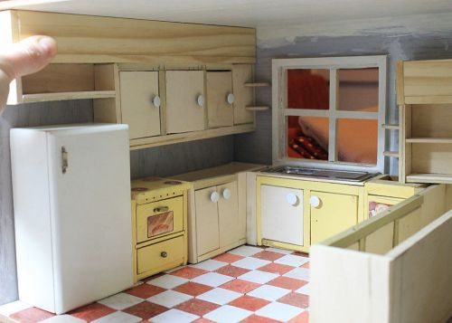 A Vintage Custom Kitchen For The Betsy Mccall Dollhouse From Cabinets
