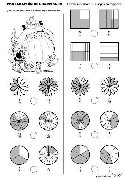 Fracciones Comparacion De Fracciones Ejercicios De Fracciones Multiplicación De Fracciones