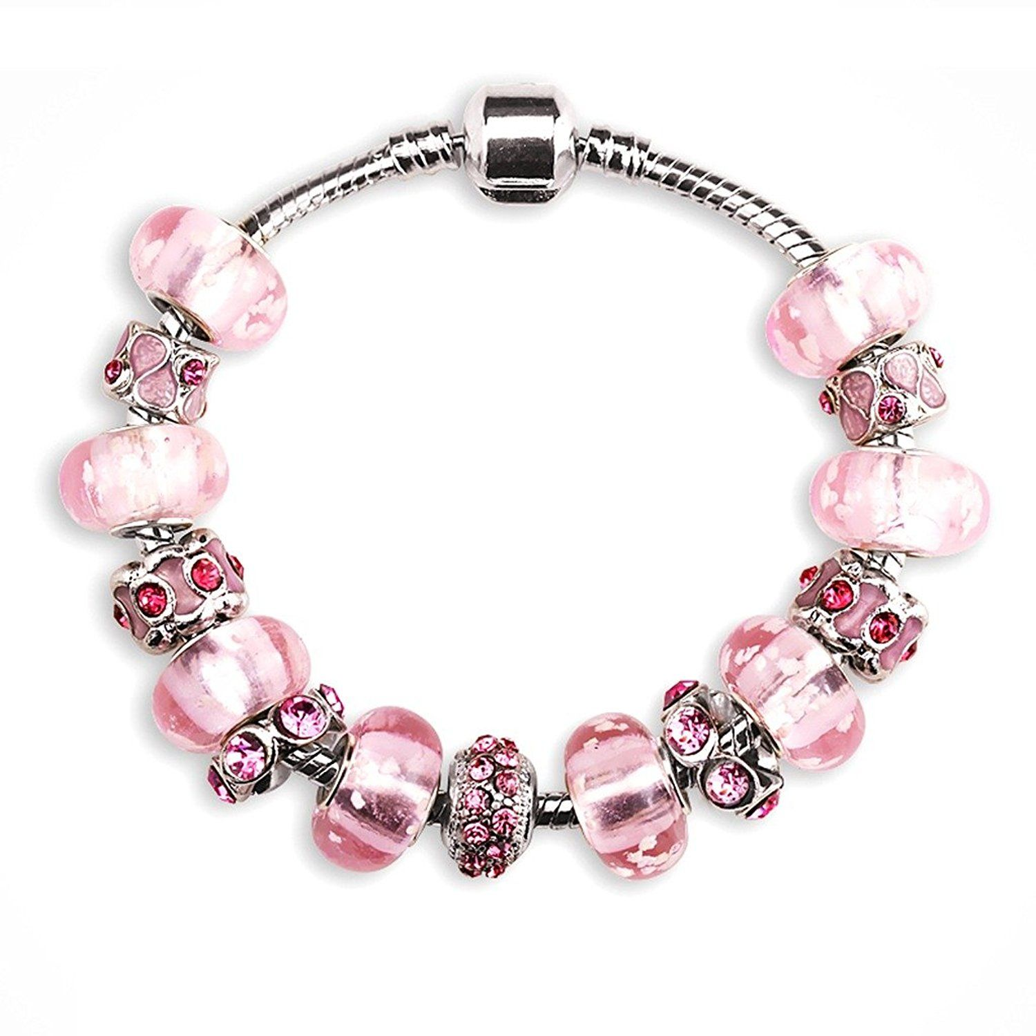 Jewelry Glass Bead Pink Luminous Party Charm Bracelets And Charms And  Pandorapatible Charms For Girl