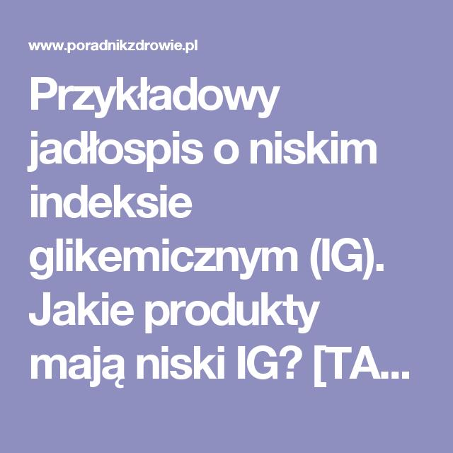 Przykladowy Jadlospis O Niskim Indeksie Glikemicznym Ig Jakie