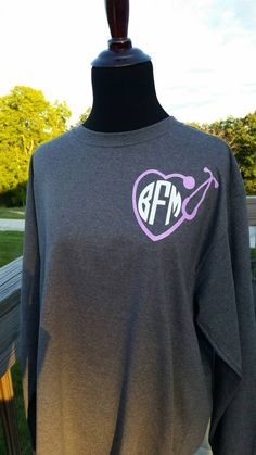 Monogrammed Nurses Long Sleeve T-Shirt by AngelaDawnBoutique