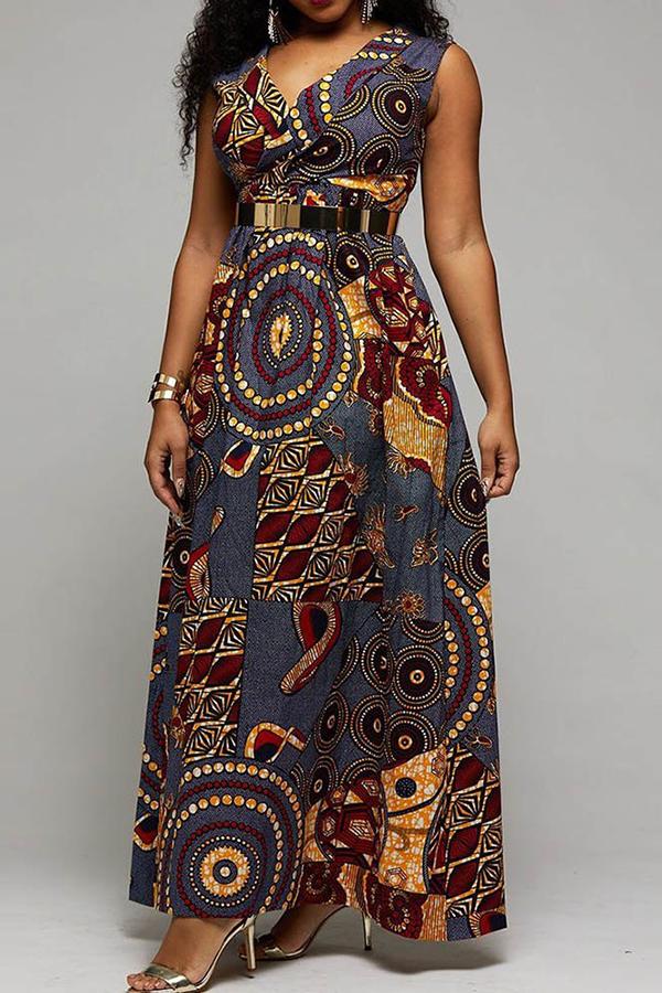 97619b1fda2 Floor-Length Sleeveless Print Western Roman Cloth Women s Maxi Dress ...