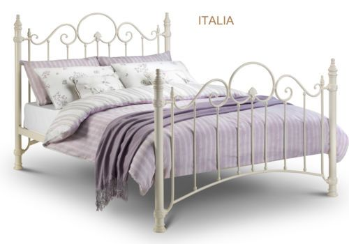 Vintage Shabby Chic Style Metal Bed Frame Stone Cream Single Double Kingsize Single Metal Bed Frame White Metal Bed Frame Bed Frame With Mattress