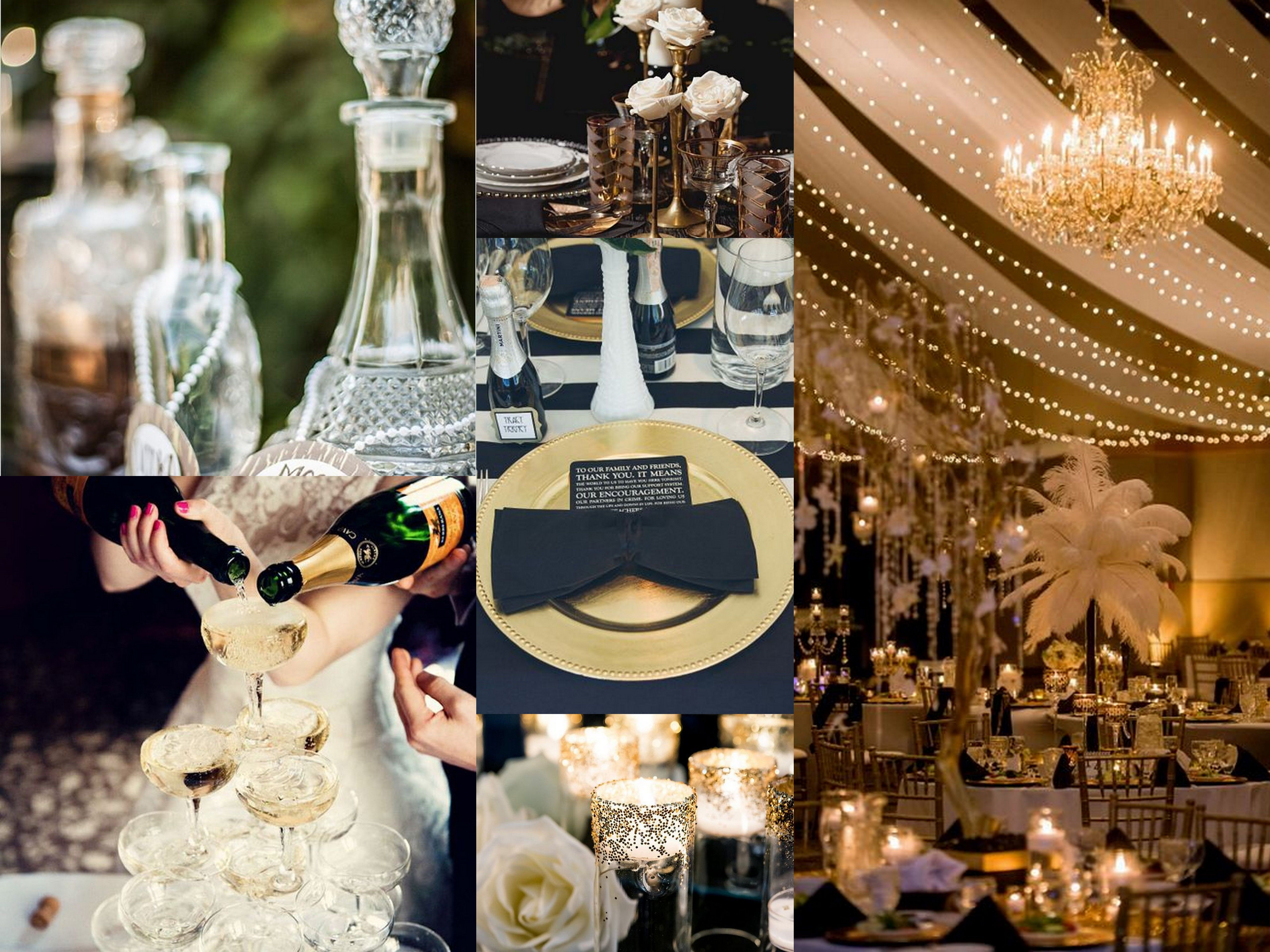 Great gatsby wedding theme top left the wedding chicks for Marriage theme decoration