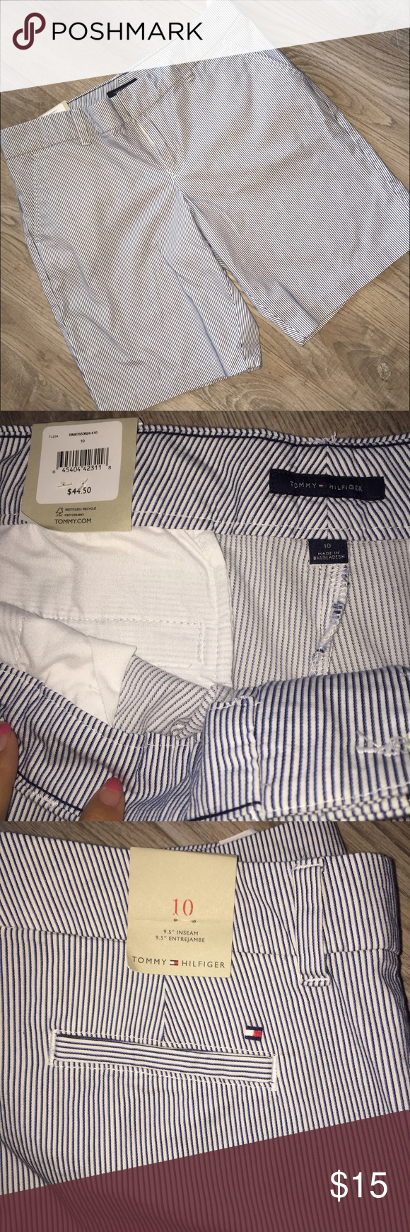 ⚡️SALE NWT Tommy Hilfiger Shorts Blue and white seersucker pinstripe pattern. Tommy Hilfiger Shorts