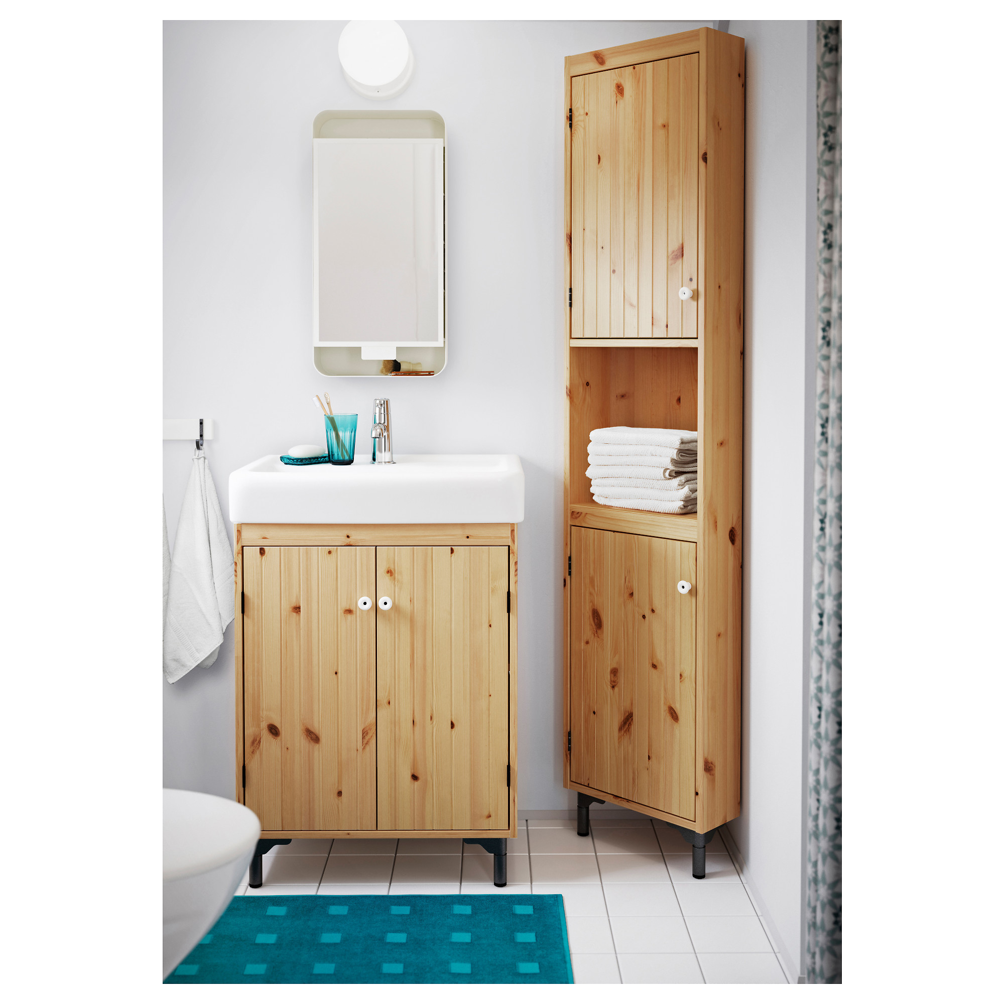 SILVERÅN Wash-basin cabinet with 2 doors Light brown 60 x 38 x 68 cm ...