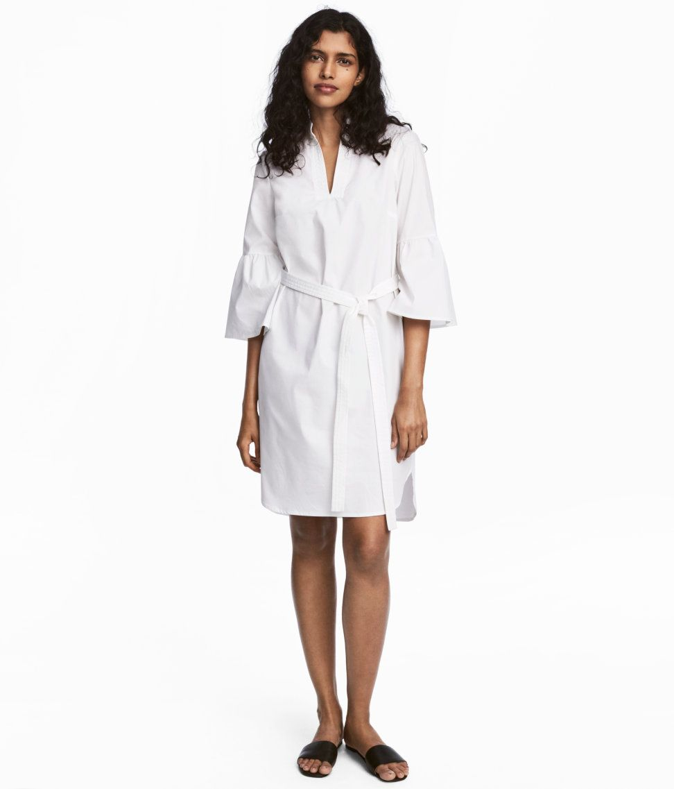 Check this out straightcut dress in woven cottonblend fabric with