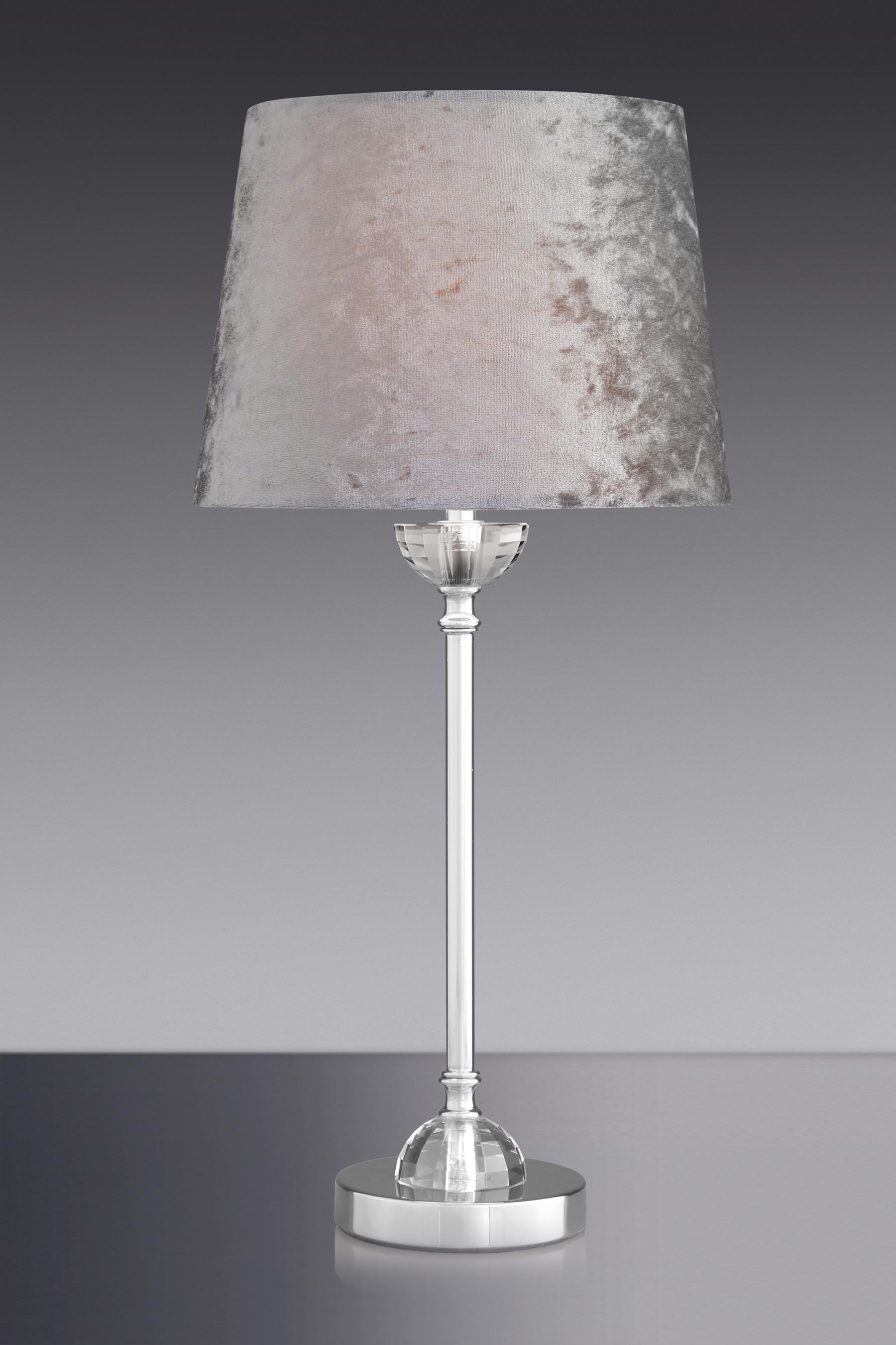 Light Grey Bedside Table: Next Velvet Table Lamp - Grey