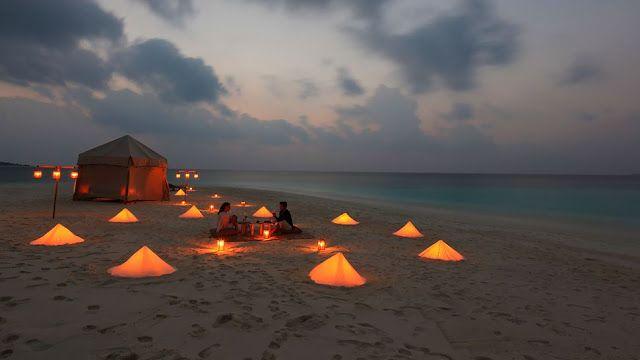 Lamplit beach