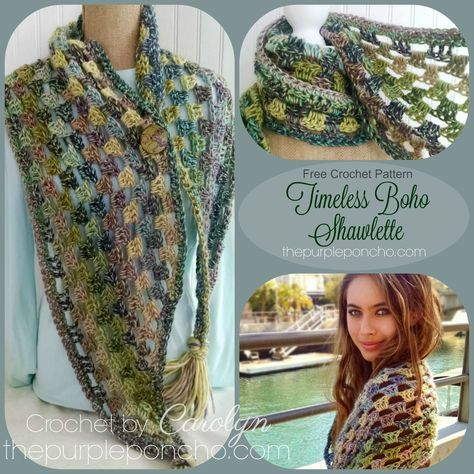 Timeless Boho Shawlette Free Crochet Pattern By The Purple Poncho